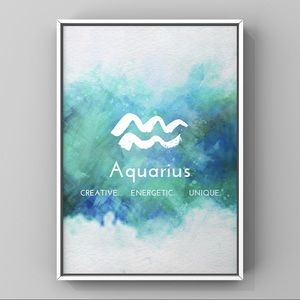 Aquarius Zodiac sign white blue watercolor print